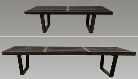 Two Slat Platform Benches