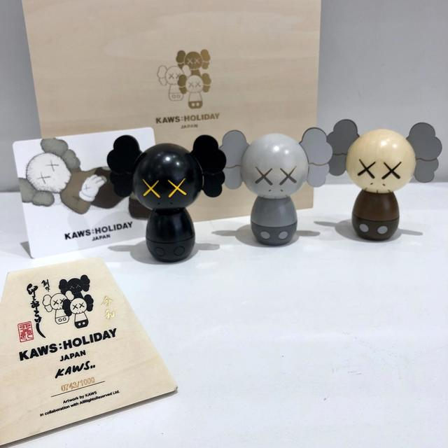 KAWS, 'KOKESHI DOLL SET OF 3 (HOLIDAY JAPAN 2019)', 2019, Sculpture, Hand crafted, Dope! Gallery