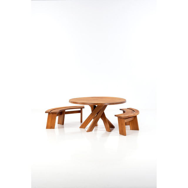 Pierre Chapo, 'T21D and S38E; Table and pair of quarter round benches', circa 1973, PIASA