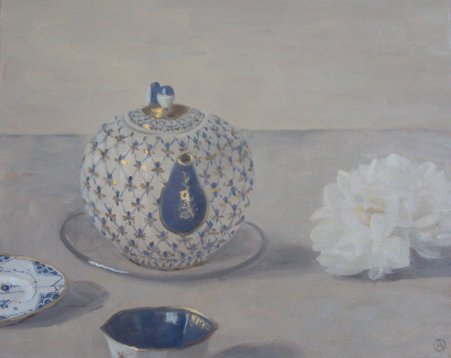 , 'Composition with Russian teapot and flower,' 2019, Rice Polak Gallery