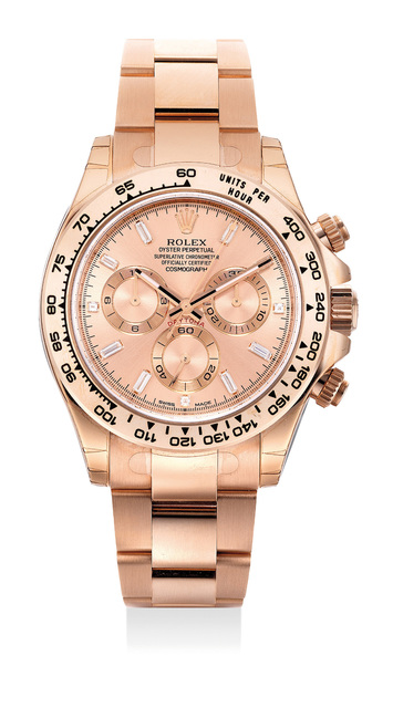 Rolex, 'An exceptionally attractive and very rare pink gold chronograph wristwatch with baguette diamond indexes, bracelet, international guarantee and presentation box', Circa 2015, Phillips