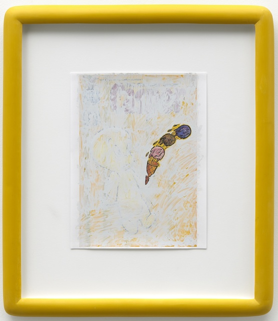 Alex Da Corte, 'Blue Pencil Drawing (Big Chill Spook)', 2019, Drawing, Collage or other Work on Paper, Inkjet and White Out on paper, cast polyester resin frame, plexiglass,  mat-board, coroplast, wooden strainer, hardware, Swiss Institute Benefit Auction