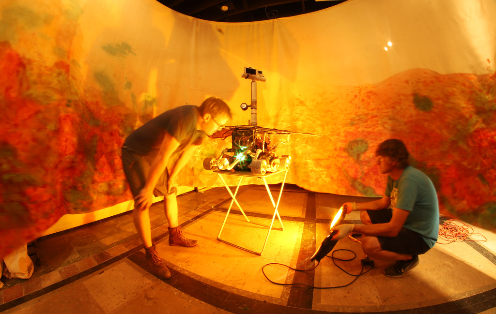 "Installation progress shot including the ""Impression"" Rover and landscape in Mare Tenebrarum"