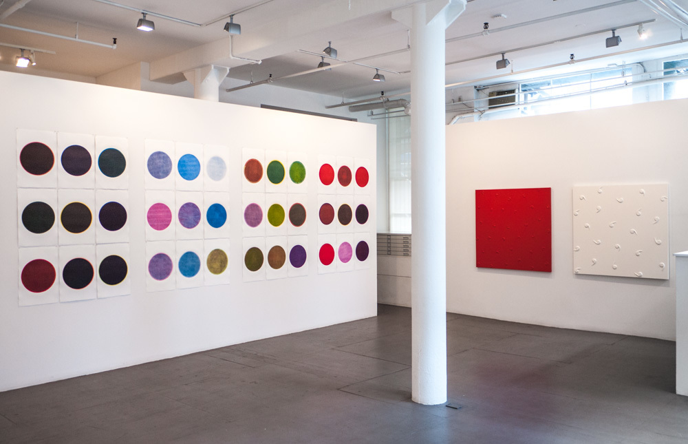 Installation view of works by RICHARD TSAO (left) and POURAN JINCHI (right) at Art Projects International, New York.