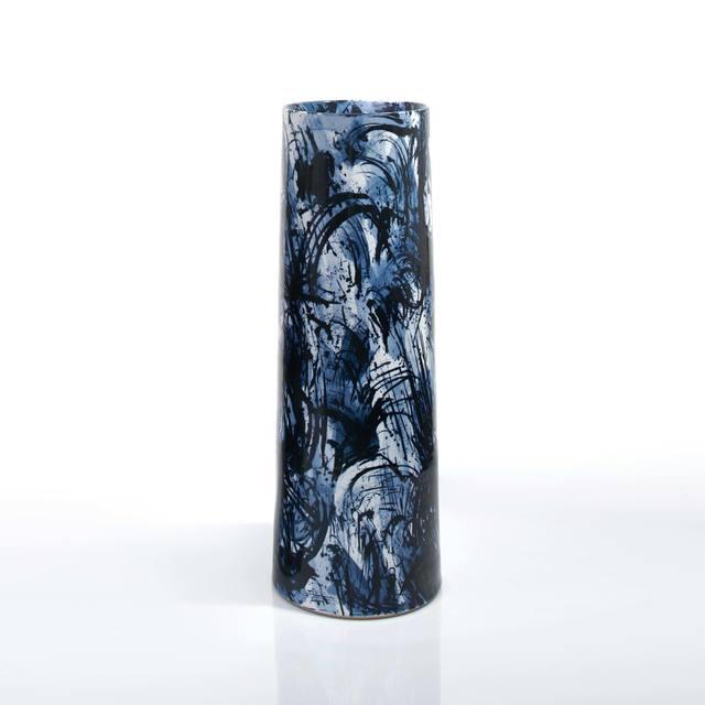 , 'Blue & White Scribble Vase,' 2015, Adrian Sassoon