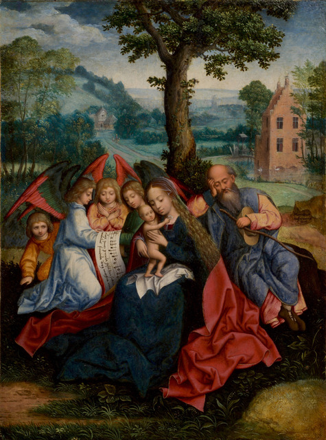 , 'The Holy Family Surrounded by Angels, Rest on the Flight into Egypt,' Active in Antwerp between 1549 and 1570, De Jonckheere