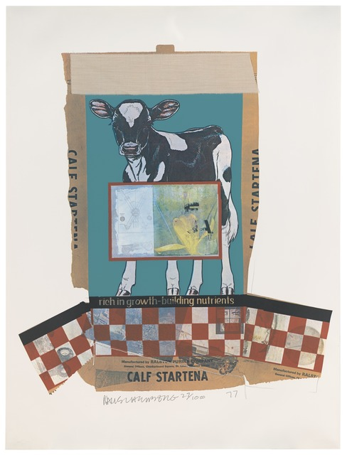 Robert Rauschenberg, 'Calf Startena (Chow Bags)', 1977, Print, Screen print, graphite, and fabric on paper with plastic thread, San Francisco Museum of Modern Art (SFMOMA)
