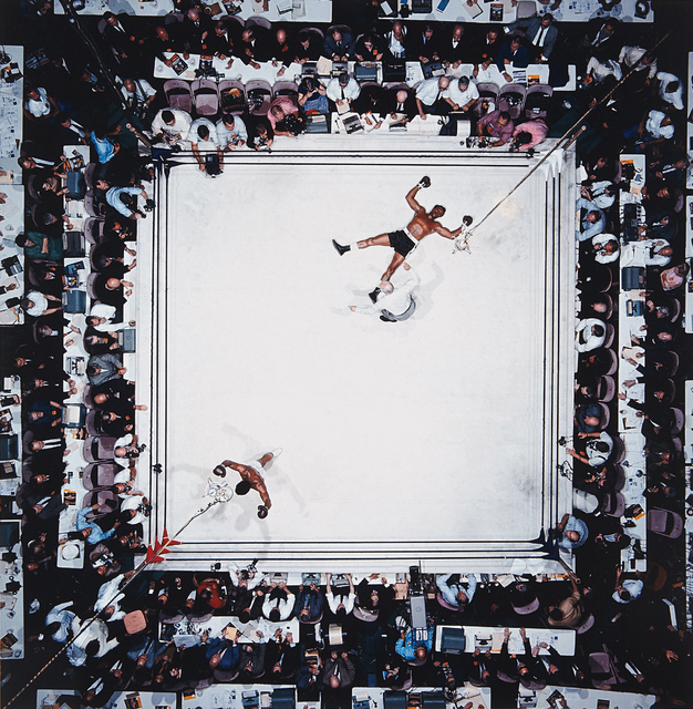 Neil Leifer, 'Aerial of Muhammad Ali victorious after his round two knockdown of Cleveland Williams during the 1966 World Heavyweight Title fight at the Astrodome, Houston, Texas, November 14', 1966, Photography, Chromogenic print, printed later, Phillips