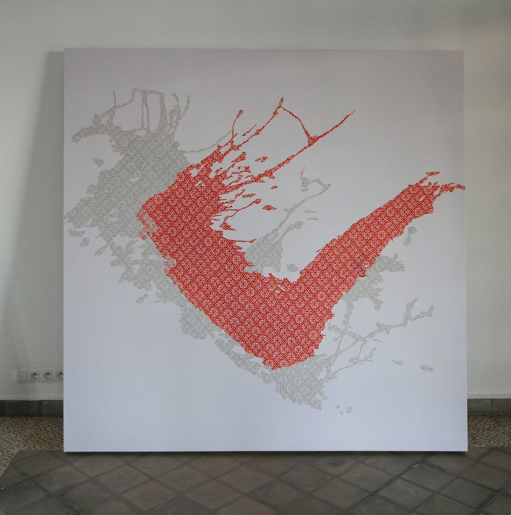 Embroidery mounted on frame before painting - Yassine mekhnache