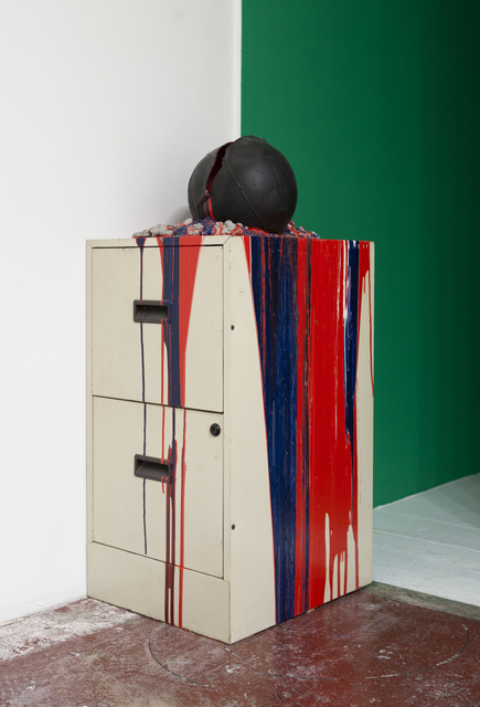 , 'Imploded Ball Barf (file cabinet, red white and blue),' 2011, Nina Johnson
