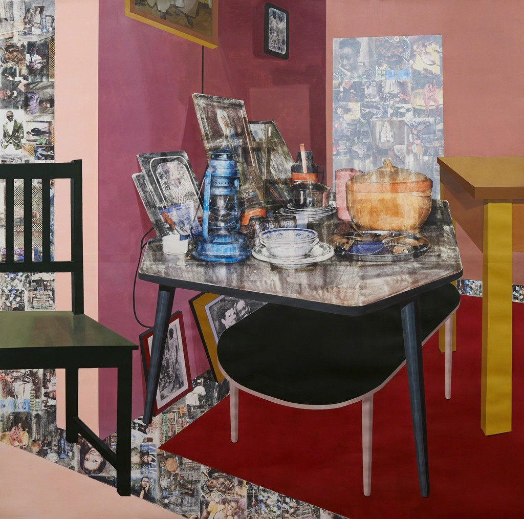 Njideka Akunyili Crosby, Predecessors (right panel),2013, charcoal, acrylic paint, graphite and transfer print on paper, 84 x 84 inches, courtesy Tate London