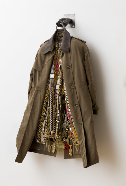Nick Cave, 'Hustle Coat', 2017, Sculpture, Mixed media including a trench coat, cast bronze hand, metal, costume jewelry, watches and chains, TW Fine Art