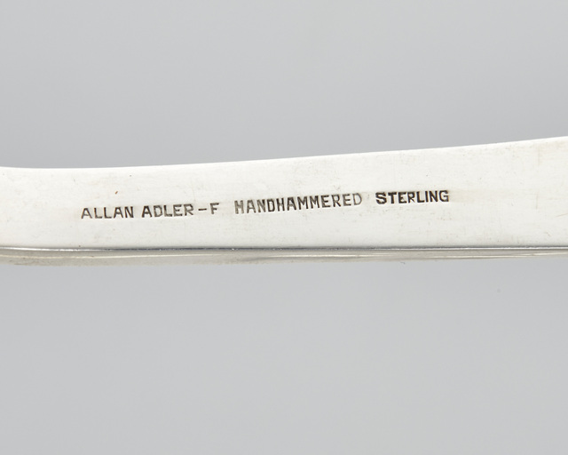 """'An Allan Adler """"Modern Georgian"""" sterling silver flatware service', Design/Decorative Art, Comprising 14 hollow-handled New French dinner knives (9.5""""), 14 butter spreaders (6.25""""), 14 place forks (7.75""""), 14 salad forks (6.5""""), 16 teaspoons (6""""), 14 cream soup spoons (6.5""""), 2 vegetable serving forks (9.125""""), 3 vegetable serving spoons (9.125""""), 1 bouillon ladle (8.5""""), 1 cheese server (7.75""""), 1 buffet fork (10.125""""), and 1 dressing spoon (10.125""""), 95 pieces, John Moran Auctioneers"""