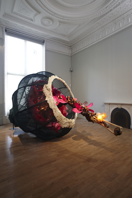 , 'The world as burnt fruit - When empires feuded for populations and plantations, buried in colonial and ancient currency a Gharial appeared from an inky melon - hot with blossom sprang forth to swallow the world not yet whole as burnt fruit,' 2009, San Jose Museum of Art