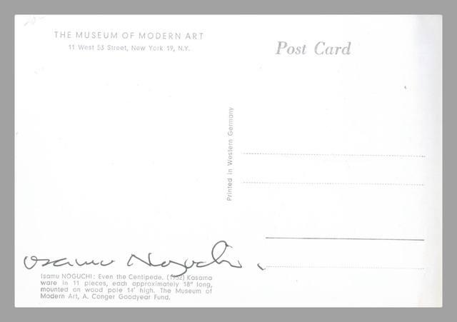 Isamu Noguchi, 'Even the Centipede (Hand Signed Card from the Estate of UACC President Cordelia Platt)', ca. 1988, Alpha 137 Gallery