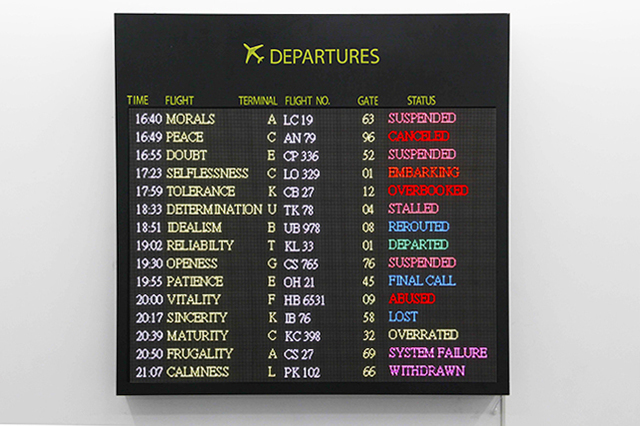 , 'We Are Free to Choose but We are Not Free From the Consequences of Our Choices: Departure Board,' 2017, de Sarthe Gallery
