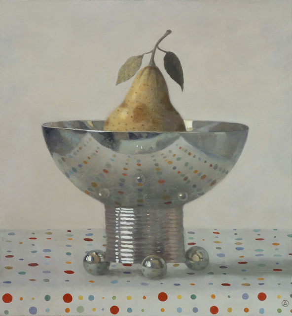 , 'Pear in Silver Bowl,' 2017, Gallery Henoch