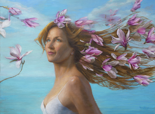 Michael Van Zeyl, 'Partly Cloudy With A Chance For Magnolias (Portrait model: René Romero Schuler)', 2020, Painting, Oil on linen wrapped panel, 33 Contemporary