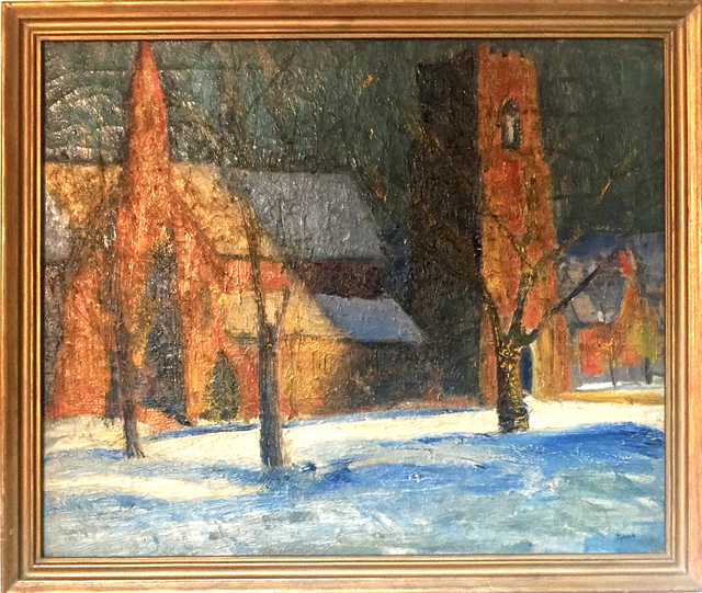, 'Winter Night Scene of Church,' 1940s, Contemporary Works/Vintage Works