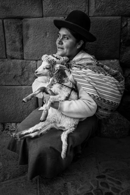 , 'Indigenous Woman with Lamb, Cusco, Peru,' 2019, PHOTIQ