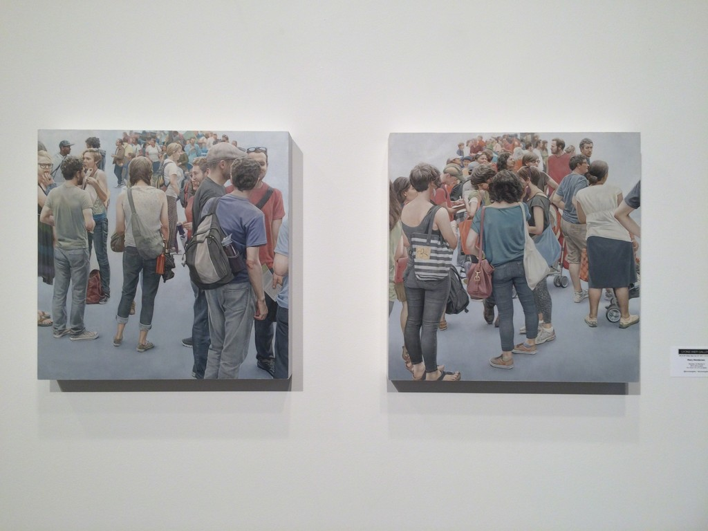 "Mary Henderson, ""Marchers I"" and ""Marchers II"", oil on panel"