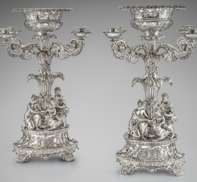 , 'A Magnificent Pair of George IV Four Light Candelabrum Centrepieces,' 1822, Koopman Rare Art