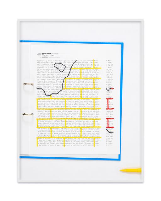 , 'A negative calligramme by Robert Fitterman (Wall yellow / Nr. 2),' 2018, Kadel Willborn