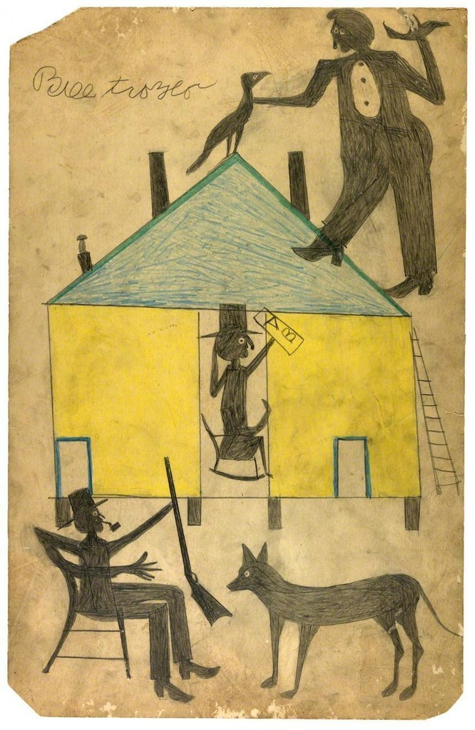 Bill Traylor, Untitled (Yellow and Blue House with Figures and Dog), July 1939, colored pencilon paperboard. Smithsonian American Art Museum; Museum purchase through the Luisita L. andFranz H. Denghausen Endowment. Photo by Gene Young