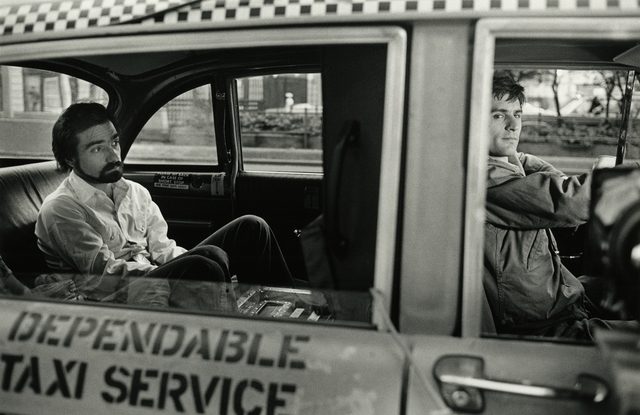 , 'Martin Scorsese in the Back of DeNiro's Cab during Filming of Taxi Driver, New York,' 1975, Howard Greenberg Gallery
