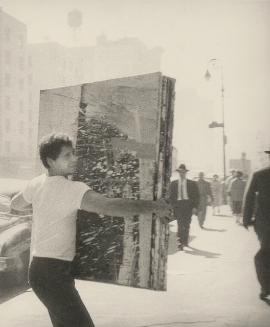 , 'Alfred Leslie Carrying Painting on Fourth Avenue,' 1959, L. Parker Stephenson Photographs