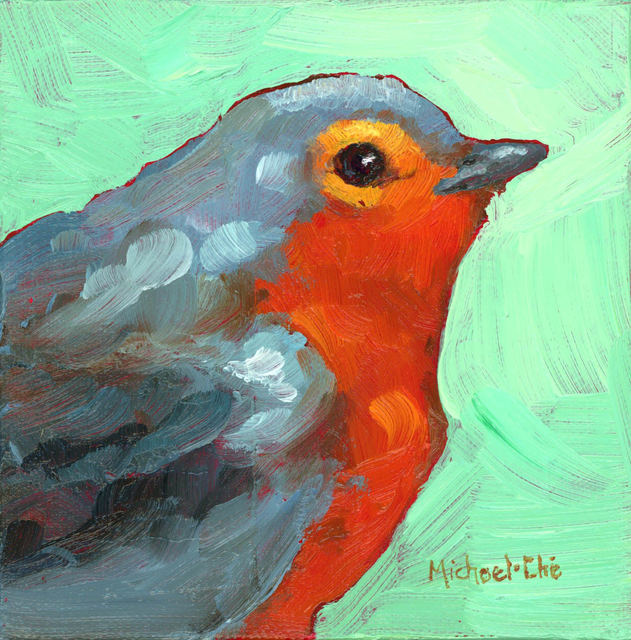 "Michael-Che Swisher, '""All Cozy"" Oil portrait of a gray and orange bird in profile', 2019, Eisenhauer Gallery"