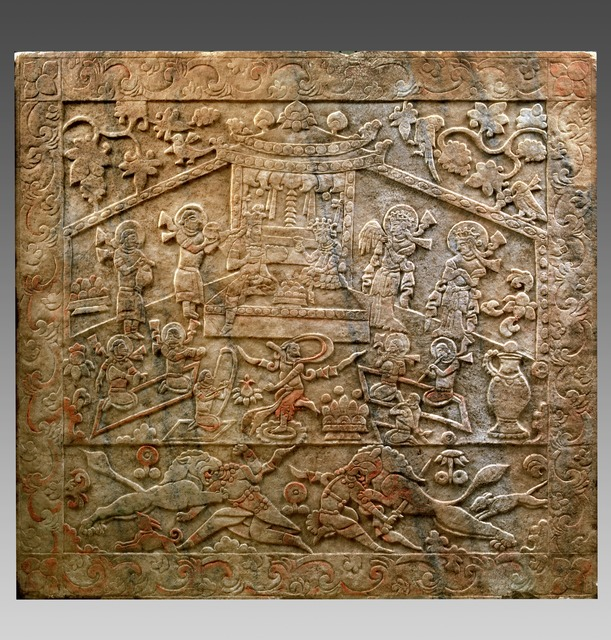 , 'Carved Tomb Panel from the Sarcophagus of Yu Hong's tomb,' 592, China Institute Gallery