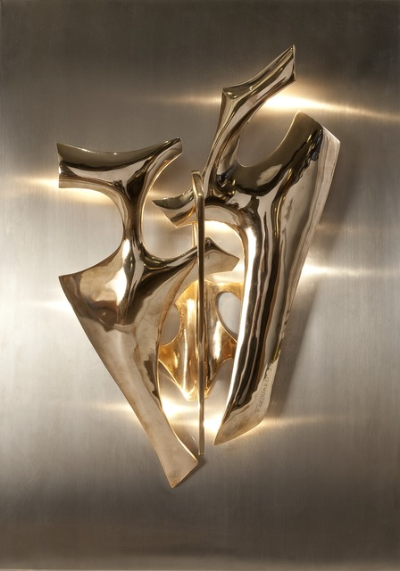 , 'Pair of Sculptural Sconces Mounted on Stainless Steel Backplates,' ca. 1970, Maison Gerard