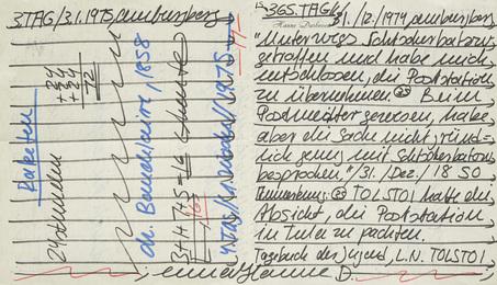 """""""Kalenderblatt zu Tolstoi u. Baudelaire. Farbige Filzstifte auf Papier (beidseitig)"""""""