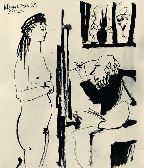 Pablo Picasso, 'Peintre et modèle (Artist and Model)', 1953, Drawing, Collage or other Work on Paper, Pen and brush with ink on paper, Fondation Beyeler