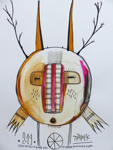 TAREK, 'Il était une fois un homme avec un masque pour se cacher', 2019, Drawing, Collage or other Work on Paper, Tea, watercolor, color ink and posca on paper, Galerie Carole Kvasnevski