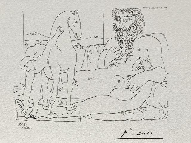Pablo Picasso, 'Sculpteur et son modèle avec un groupe sculpté représentant un dresseur de chevaux (Suite Vollard Planche LV)', 1973, ByNewArt