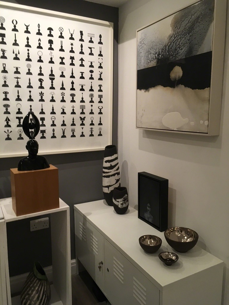 '100 Heads', print and sculpture by Geoff Helyer.  Newlyn Tree by Kerry Harding, ceramics by Kerry Hastings and small painting These Dark Woods | Silence.