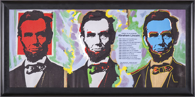 Steve Kaufman, 'Abe Abraham Lincoln Warhol Famous Assistant Oil Painting Canvas', 1996, Modern Artifact