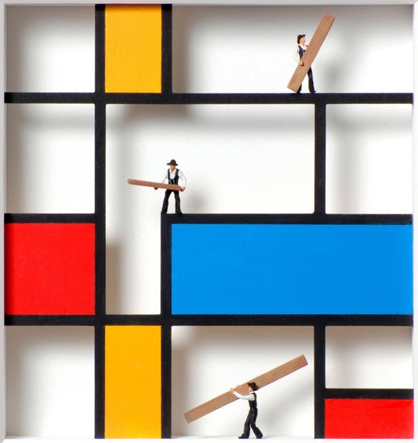Volker Kühn, 'Homage to Mondrian, Mondrian in progress ', Mixed Media, Mixed media, Plus One Gallery