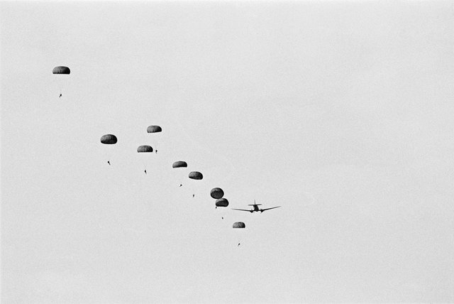 , 'Training jump by SADF outside Windhoek, Namibia,' 1987, Afronova