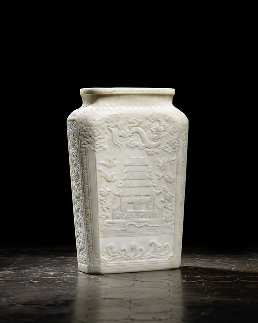 Unknown Artist, 'A Hebei white marble rectangular vase 河北漢白玉 '平安富貴' 瓶', 1736-1795, Rasti Chinese Art