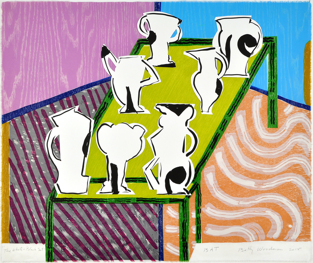 Betty Woodman, 'The White & Black Set', 2015, Print, Color woodcut/lithograph/chine collé/collage, Shark's Ink.