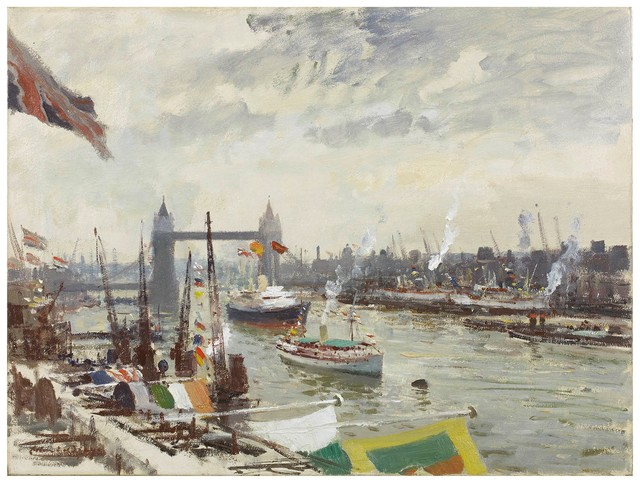, 'Arrival of the 'Britannia' in the Pool of London, 15 May 1954,' , Portland Gallery