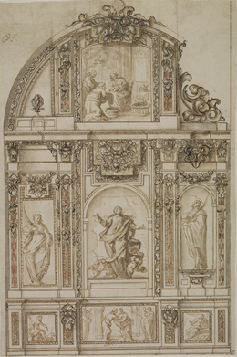 , 'Design for a Chapel Altar Wall,' ca. 1650-60, British Museum