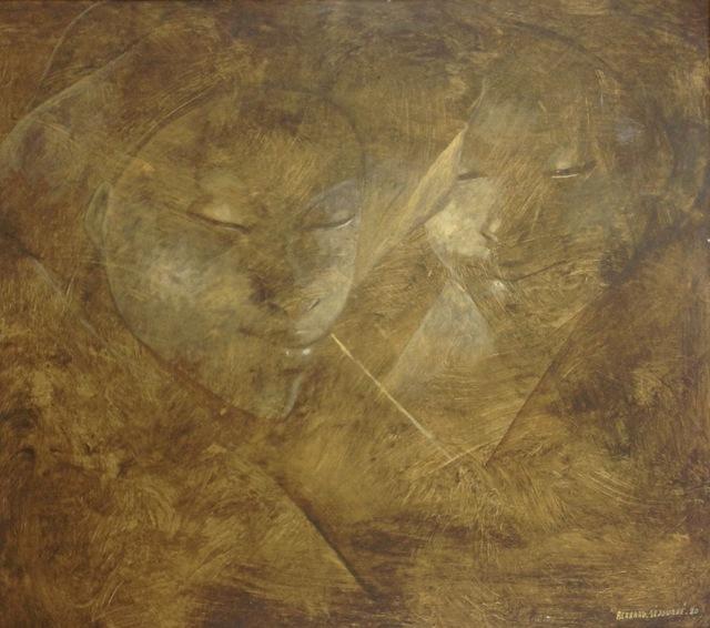 , 'Two Women Faces,' 1990, Myriam Nader Haitian Art Gallery