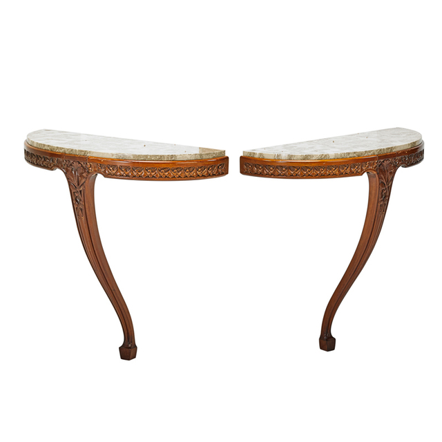 Louis Majorelle, 'Pair Of Console Tables, France', ca. 1900, Design/Decorative Art, Carved Mahogany, Marble, Rago/Wright