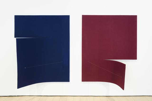 , 'Work On Felt (Variation 16 and 17) Dark Blue and Burgundy,' 2017, Paul Kasmin Gallery
