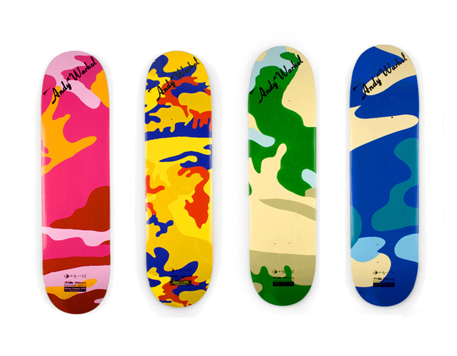 Andy Warhol, 'Camouflage (set of 4 skateboard decks)', 2007, EHC Fine Art Gallery Auction