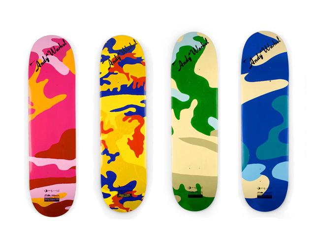 Andy Warhol, 'Camouflage (set of 4 skateboard decks)', 2007, Print, Screenprint on skateboard decks, EHC Fine Art Gallery Auction